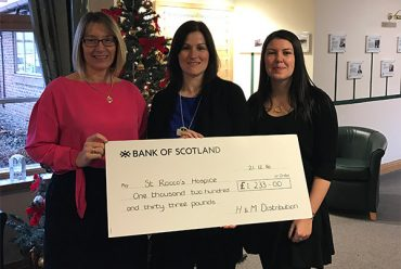 H&M DISTRIBUTION HELPS WARRINGTON HOSPICE -Staff raise £1,233 for St Rocco's Hospice